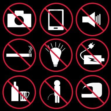 Prohibition signs, set