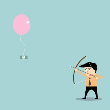 businessman aiming at money with bow and arrow