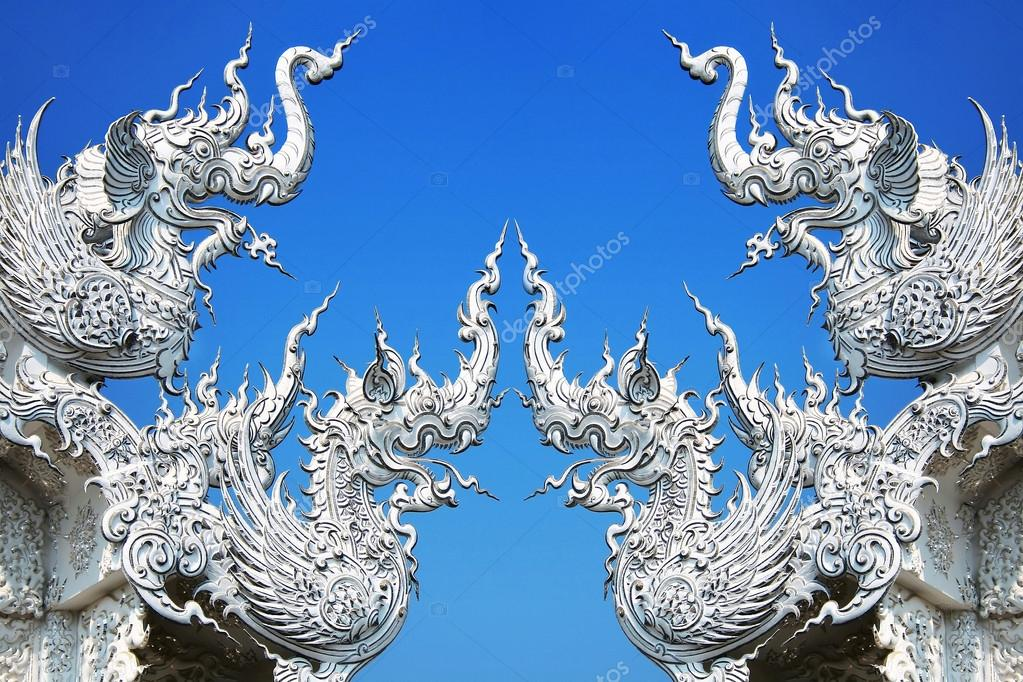 Art architecture of Wat rong khun temple in thailand
