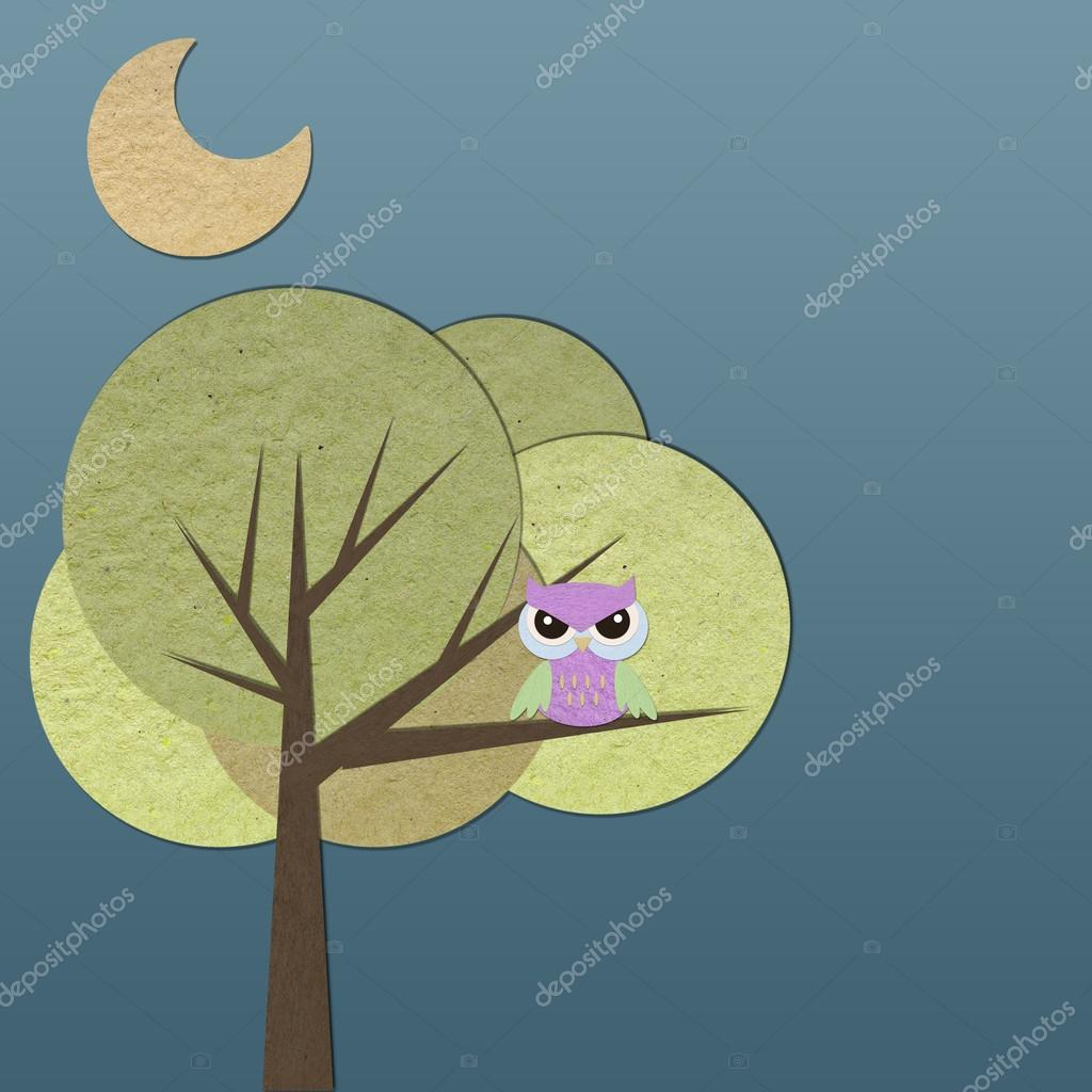 Tree paper craft image collections craft decoration ideas owl bird on tree paper craft stick background stock photo owl bird on tree paper craft jeuxipadfo Image collections
