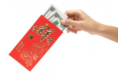 hand hold red envelopes for Chinese New Year on white background