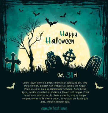 Green grungy halloween background with full moon, tombstones and bats. Vector Illustration. stock vector