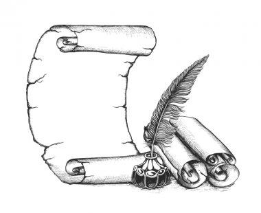 Writer set symbols: quill pen, scroll, inkwell