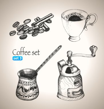 Coffee set: beans, cup, cezve and mill