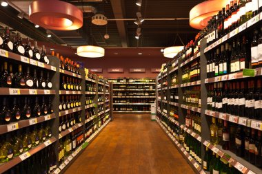 Wine department in the store