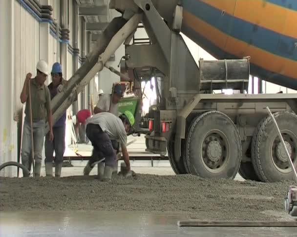 Pouring of concrete. Construction.