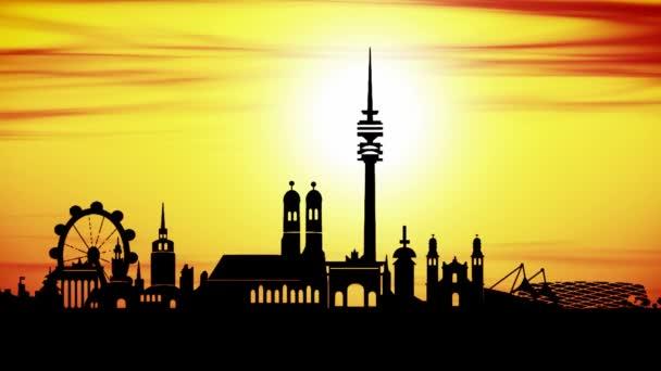 Animation auf Skyline von München City bei Sonnenuntergang wie timelapse