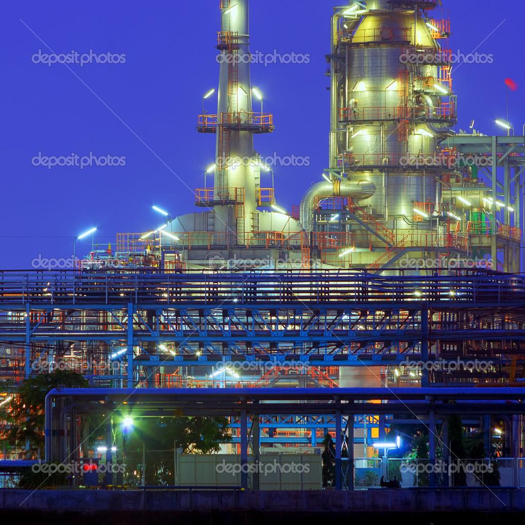 Oil refinery factory at twilight Chao Phraya river in Bangkok, Thailand. stock vector