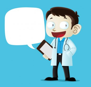 Image of doctor character with blank space for copy text of your choice. clip art vector