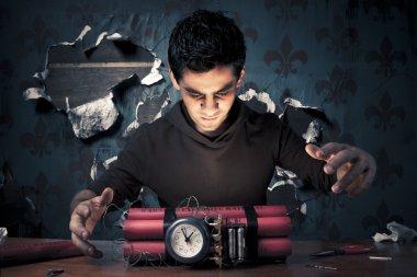 terrorist building a time bomb