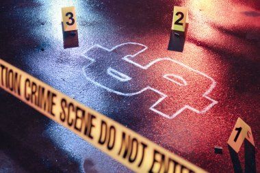 concept of bankruptcy with a crime scene