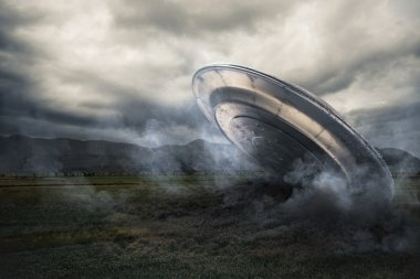 UFO crashing on a crop field