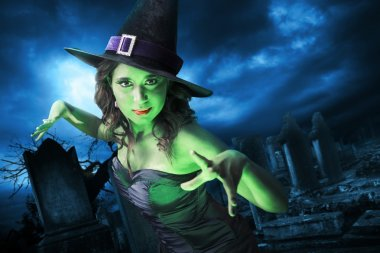 Witch with on Halloween night