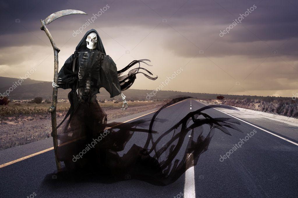 Grim reaper, angel of death on a meadow
