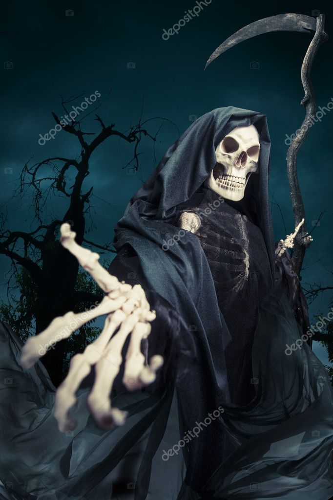 Grim reaper, angel of death at night