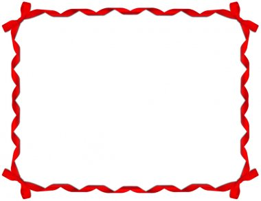 Red Ribbon Frame with Bow over white background