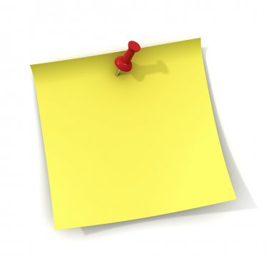 Yellow note and red push pin isolated on white background with shadow