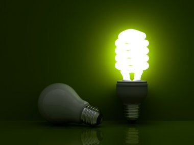 Glowing compact fluorescent light bulb standing near unlit incandescent bulb