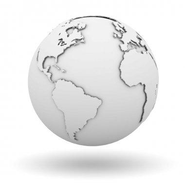 White earth globe isolated over white background