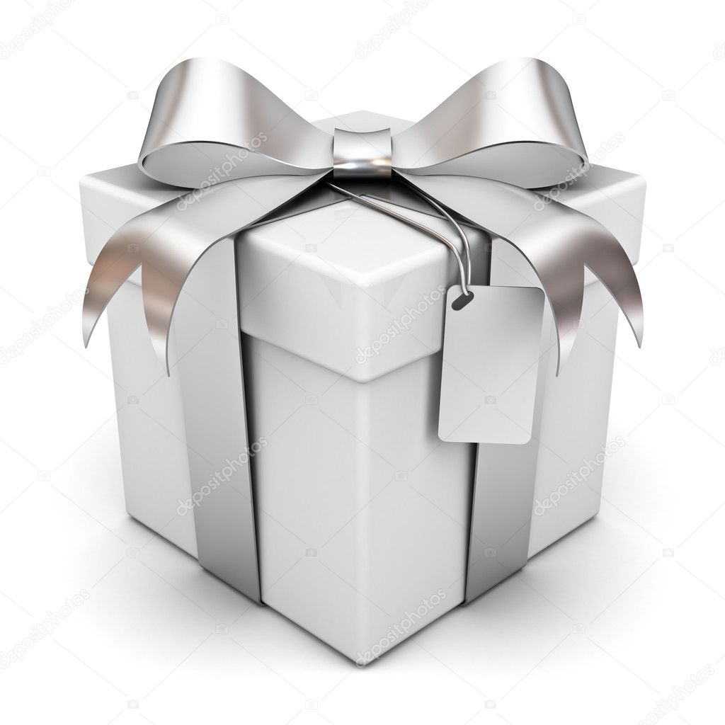 Gift box with silver ribbon bow and blank tag isolated over white background