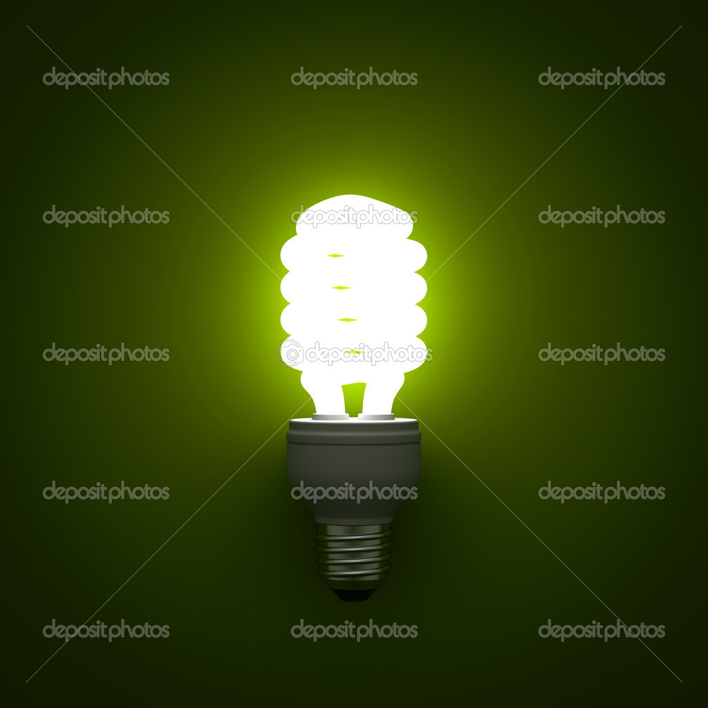 Energy saving compact fluorescent light bulb glowing over green ... for glowing cfl bulb  143gtk