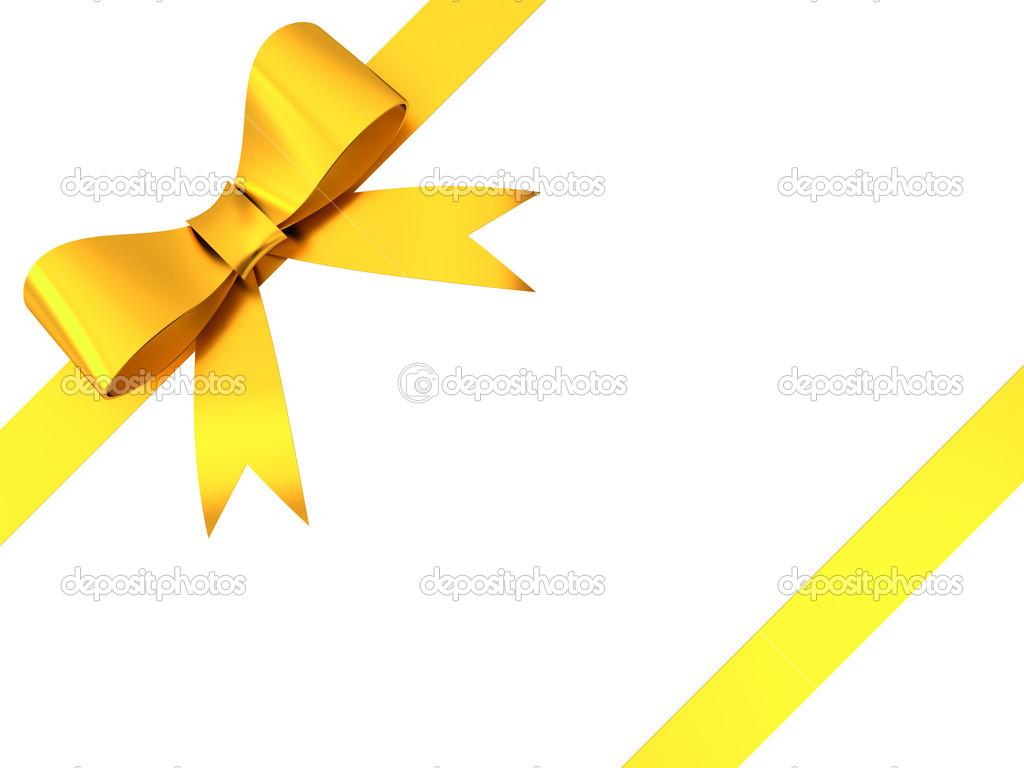 gold geschenk schleife bow isolierten auf wei en hintergrund stockfoto 12629830. Black Bedroom Furniture Sets. Home Design Ideas