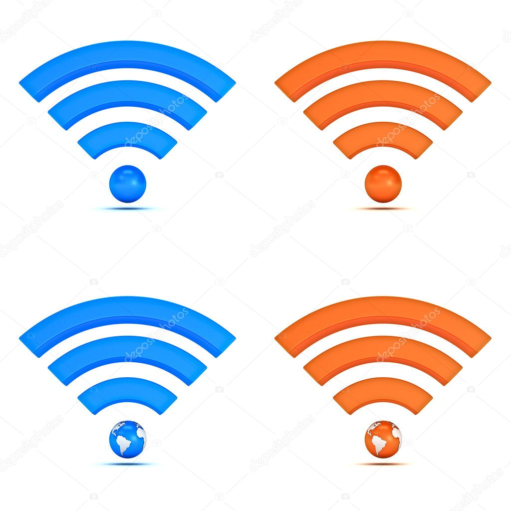3d wifi icon collection isolated on white background