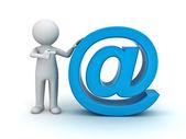 Fotografie 3D Mann mit blauen e-Mail signieren auf weißem Hintergrund