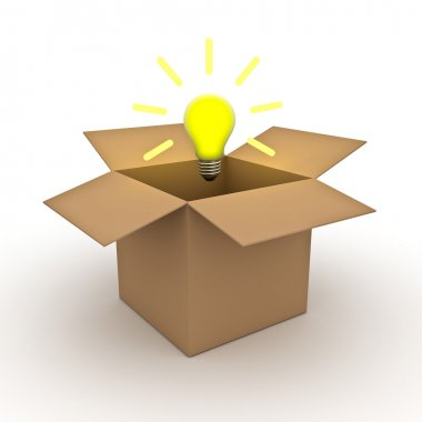 Think outside the box concept , Idea bulb outside cardboard box