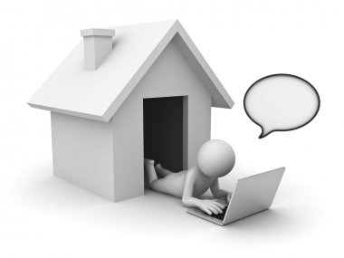 3d man using laptop computer with speech bubble at home on white background