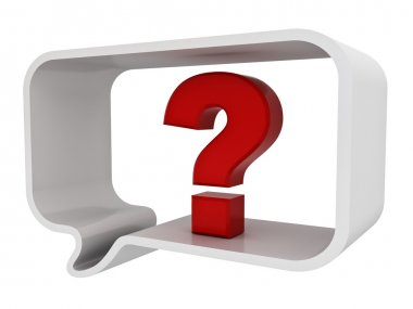 Red question mark in speech bubble isolated over white background