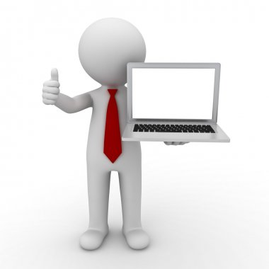 3d man presenting blank laptop over white background