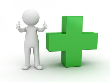 3d man showing thumbs up with green plus sign