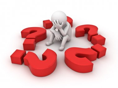 Stressed 3d man sitting with question marks on white