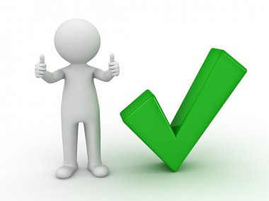 3d man showing thumbs up with green check mark