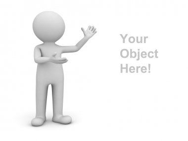 3d man presenting your object over white background