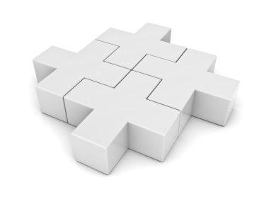 White jigsaw puzzle isolated over white background