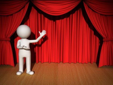3d man presenting over red curtain background