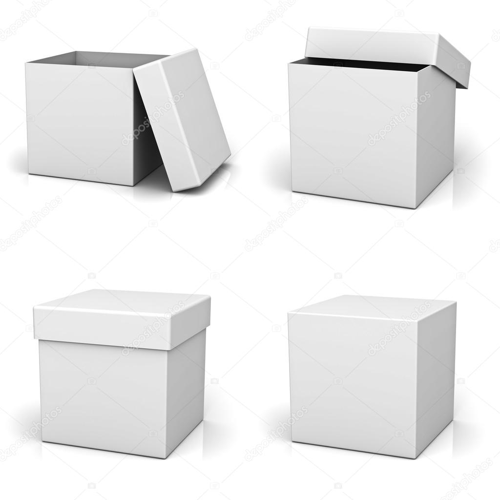 Collection of blank boxes on white background with reflection