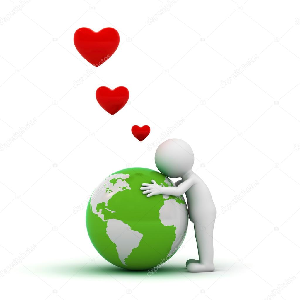 Love the earth concept, 3d man hugging green globe over white