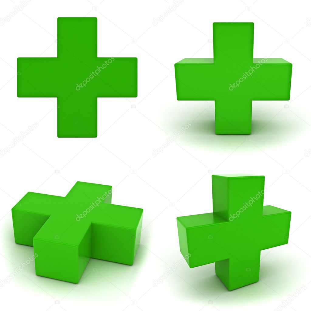 Collection of green plus sign isolated on white background