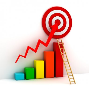 Business target marketing concept , 3d business graph with red rising arrow to the red target and wood ladder