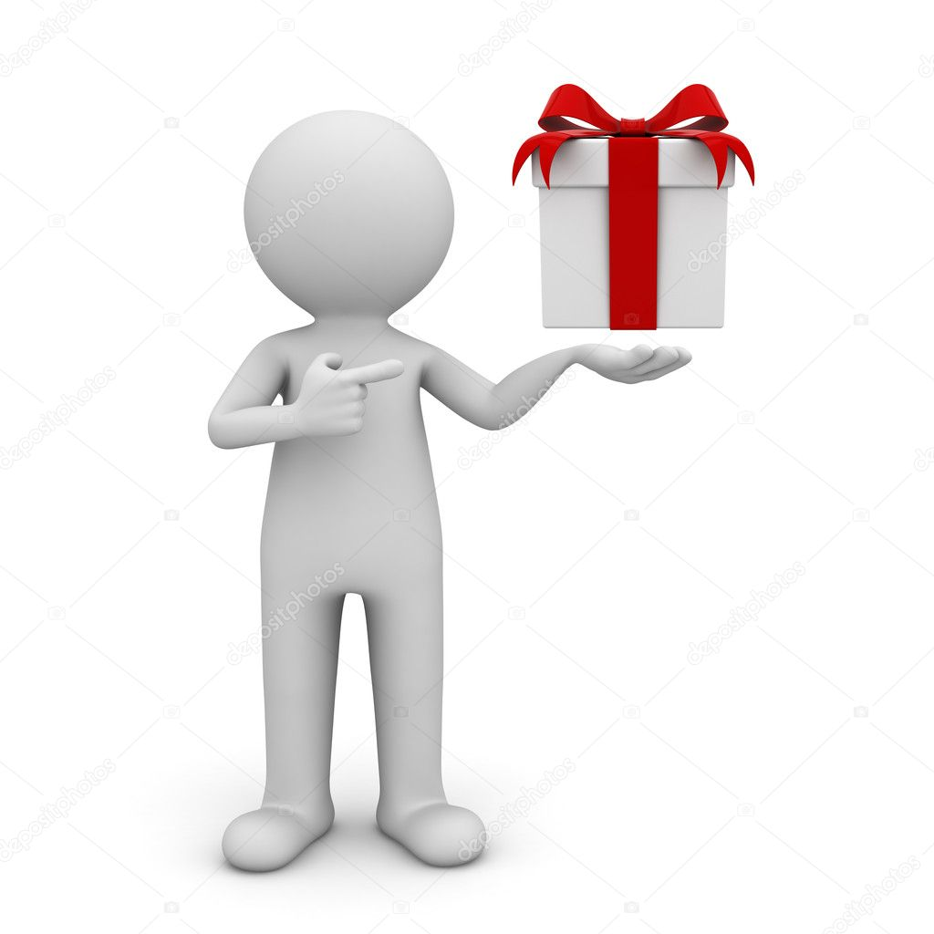 3d man showing gift box with red ribbon bow and pointing finger at it