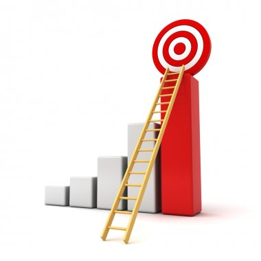 Business target concept , 3d business graph with wood ladder to the red target isolated over white
