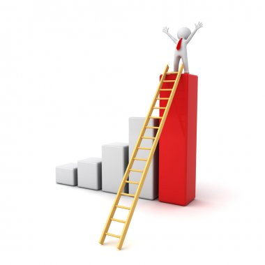 Success concept, 3d man standing with arms wide open on top of growth business bar graph with wood ladder isolated over white