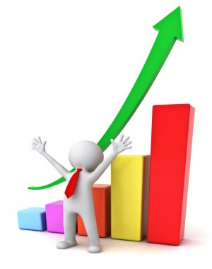 Successful business 3d man standing with arms wide open in front of growth business graph isolated over white