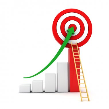 Business graph with green rising arrow moving up to the center of red target with wood ladder concept isolated over white