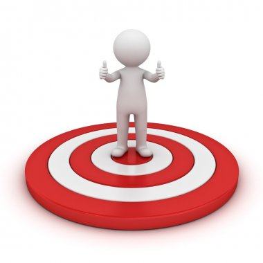 3d man showing thumb up and standing on red target isolated over white