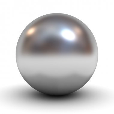 Metallic chrome sphere over white