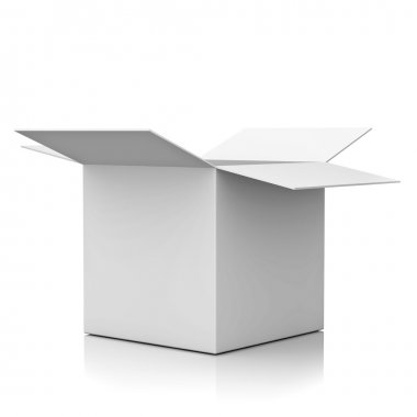 Blank opened cardboard box isolated over white background